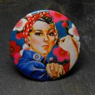 Rosie the Riveter, Flower Print Background Decorated Vanity Pocket Mirror