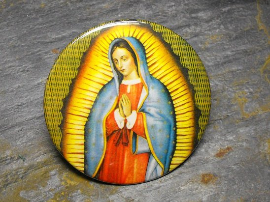 Virgin Mary, Yellow and Green Background, Decorated Vanity Pocket Mirror