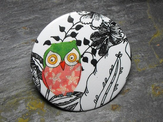 Pink and Green Owl, Black and White Floral Background, Decorated Vanity Pocket Mirror