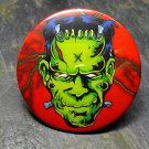 Frankenstein Face, Red Print Background, Decorated Vanity Pocket Mirror