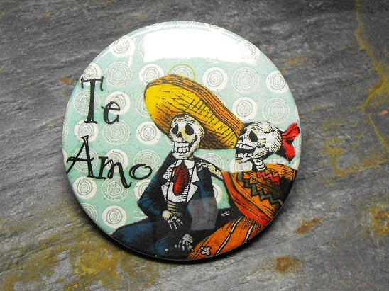 """Day of the Dead Couple, """"Te Amo"""", Blue Print Background, Decorated Vanity Pocket Mirror"""