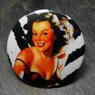Pin Up Girl in Black, Zebra Print Background, Decorated Vanity Pocket Mirror