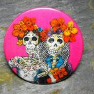 Day of the Dead Women Pair, Hot Pink Background, Decorated Vanity Pocket Mirror