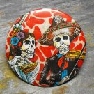 Day of the Dead Colorful Couple, Red Print Background, Decorated Vanity Pocket Mirror