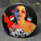 Pin Up Girl with Skulls and Mexican Flag, Decorated Vanity Pocket Mirror