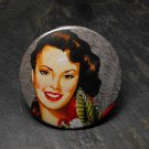 Senorita Pin Up Girl, Gray Background, Decorated Vanity Pocket Mirror