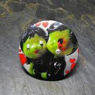 Zombie Couple Print, Heart Print Background Decorated Vanity Pocket Mirror