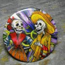 Day of the Dead Couple, Purple Print Background, Decorated Vanity Pocket Mirror