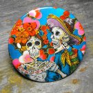 Day of the Dead Couple, Red and Pink Flower Print Background, Decorated Vanity Pocket Mirror