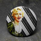 Marilyn Monroe Print, Lined Background, Decorated Vanity Pocket Mirror