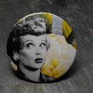 "Black and White ""I Love Lucy"" Print, Yellow Flower Background, Decorated Vanity Pocket Mirror"