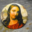 Jesus Print on Leaf Print Background, Decorated Vanity Pocket Mirror