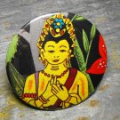 Buddha Print, Forest Design Background, Decorated Vanity Pocket Mirror