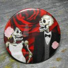 Day of the Dead Wedding Couple, Rose Print Background, Decorated Vanity Pocket Mirror