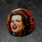 Spanish Pin Up Girl, Red Rose Print Background, Decorated Vanity Pocket Mirror
