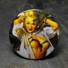 Pin Up Girl in Nighty, Dark Background, Decorated Vanity Pocket Mirror