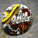 Day of the Dead Skeleton Couple, Black and White Design Background, Decorated Vanity Pocket Mirror