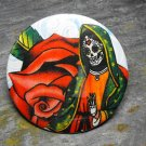 Day of the Dead Virgin Mary, Flower Print Background, Decorated Vanity Pocket Mirror