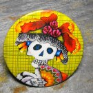 Day of the Dead Lady in Hat, Yellow Print Background, Decorated Vanity Pocket Mirror