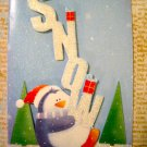 "Penguin Holding ""Snow"" Letters, Holiday Gift Tag, White Ribbon"