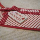 "Red and White Paper Gift Box, ""Happy Holidays"", Holiday Gift Tag, Red Ribbon"