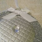 Silver Paper and Glitter Ornament, with Rhinestone Embellishment, Holiday Gift Tag, White Ribbon