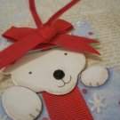Polar Bear in Gift Box, Holiday Gift Tag, Red Ribbon