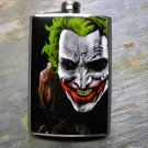 Stainless Steel Flask - 8oz., The Joker Print on Black Background