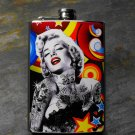 Stainless Steel Flask - 8oz., Tattooed Marilyn Monroe on Colorful Circle Print Background