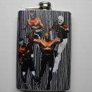 Stainless Steel Flask - 8oz., Four Mexican Wrestlers on Grey Striped Background