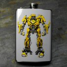 Stainless Steel Flask - 8oz., Yellow Robot on Blue Grey Print Background