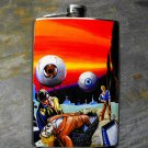 Stainless Steel Flask - 8oz., Pulp Fiction Print of Eyeballs Attacking