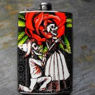 Stainless Steel Flask - 8oz., Day of the Dead Couple on Rose and Grey Print Background