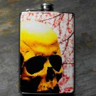 Stainless Steel Flask - 8oz., Skull on Flowering Branch Print Background