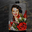 Stainless Steel Flask - 8oz., Pin Up Senorita with Rose on Grey Background