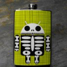 Stainless Steel Flask - 8oz., Skeleton Robot on Green Plaid Background