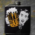 Stainless Steel Flask - 8oz., Retro Guy Holding Beer Black Background