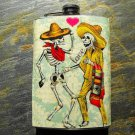 Stainless Steel Flask - 8oz., Day of the Dead Dancers on Cream Background