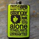 "Stainless Steel Flask - 8oz., Doors ""Strange"" Lyrics on Yellow Background"