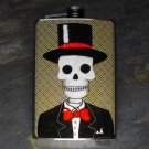 Stainless Steel Flask - 8oz., Day of the Dead Groom on Grey Print Background