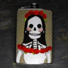 Stainless Steel Flask - 8oz., Day of the Dead Bride on Grey Print Background