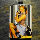 Stainless Steel Flask - 8oz., Pin Up Girl with Dogs on Striped Background