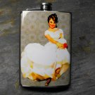 Stainless Steel Flask - 8oz., Pin Up Girl Bride in White on Grey Background