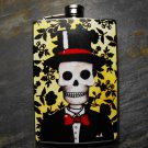 Stainless Steel Flask - 8oz., Day of the Dead Groom on Yellow and Black Print Background