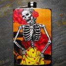 Stainless Steel Flask - 8oz., Day of the Dead Skeleton Lady on Yellow Background
