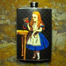 Stainless Steel Flask - 8oz., Vintage Alice in Wonderland Print on Black Background