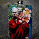 Stainless Steel Flask - 8oz., Classic Dracula on Flower Print Background