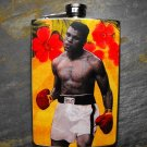 Stainless Steel Flask - 8oz.,  Muhammad Ali on Yellow Background with Red Flowers