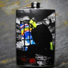 Stainless Steel Flask - 8oz., Frankenstein in Stone Cell Colorful Circle Background
