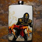 Stainless Steel Flask - 8oz., Swamp Monster Carrying Women on Grey Background